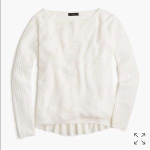 J Crew white cable sweater